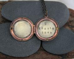 i choose love . a (whispered) hand stamped soul mantra locket. $40.00, via Etsy.