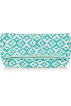 Sophie Anderson|Abril leather-trimmed crocheted cotton clutch|NET-A-PORTER.COM
