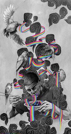 Illustration of Man Eating Rainbow Noodles Arte Inspo, Kunst Inspo, Collages D'images, Collage Art, Art And Illustration, Arte Pop, Trippy Wallpaper, Iphone Wallpaper, Wallpaper Art