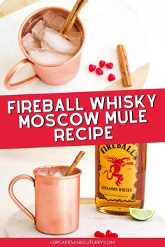 Make a Fireball Cinnamon Whisky Moscow Mule! This easy cocktail recipe has a hint of spicy and tons of flavor! And it's perfect for Valentine's Day!