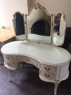 Vintage French Louis Style Dressing table, mirror and stool