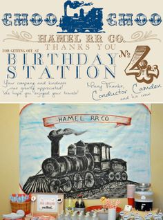 Vintage Train themed birthday party via Karas Party Ideas | http://KarasPartyIdeas.com http://#train http://#themed http://#vintage http://#birthday http://#party http://#ideas http://#cake http://#favors http://#supplies http://#idea