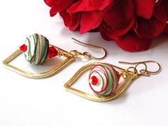Christmas Earrings, Red and Green, Holiday Jewelry, Ornament Earrings, Winter…