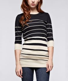 Look what I found on #zulily! Black Stripe Three-Quarter Sleeve Tunic #zulilyfinds
