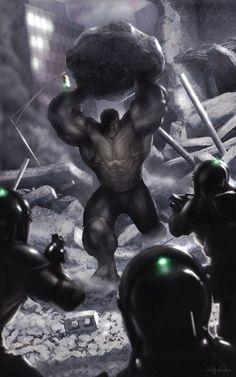 Hulk vs Enclave Soldiers Comic Art