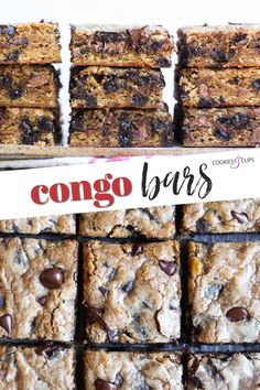Congo Bars are soft and gooey chocolate chip cookie bars made with 2 kinds of chocolate. Using both light and dark brown sugar gives them an extra rich caramel flavor that sets them apart. #cookiesandcups #congobars #chocolatechipcookiebars #chocolatechipscookies #cookierecipe #cookiebars Best Cookie Recipes, Healthy Dessert Recipes, Just Desserts, Great Recipes, Delicious Desserts, Brownie Desserts, Bar Recipes, Favorite Recipes, Congo Bars