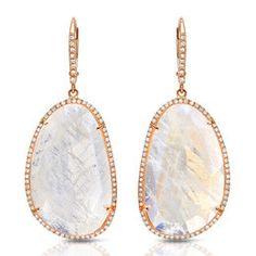Moonstone & Diamond Earrings, Rose Gold.