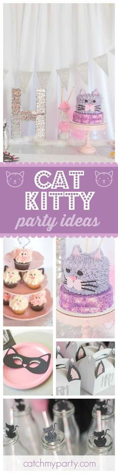 Take a look at this purr-fect Kitty Cat birthday party. The kitty cake and cupcakes are adorable!! See more party ideas and share yours at http://CatchMyParty.com
