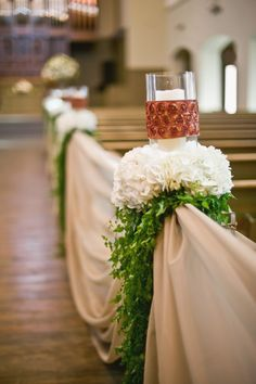 Pillar Candle and Hydrangea Aisle Markers | Lissa Anglin Photography | Flowers: Parie Designs | www.theknot.com