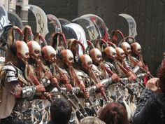 Spanish men dressed as MOORS AT THE Moros Y Cristianos festival SPAIN.