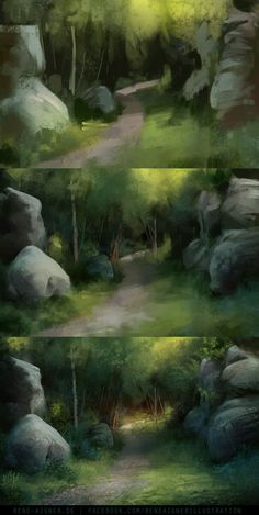 Aigner's Sketchbook via Digital Painting Tutorials, Digital Art Tutorial, Art Tutorials, Concept Art Tutorial, Fantasy Landscape, Landscape Art, Landscape Paintings, Drawing Techniques, Drawing Lessons
