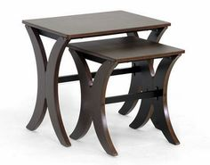 Baxton Studio Xavier Wenge Brown Modern Nesting 2pc Table Set - AA-CJ4   Tables & Consoles