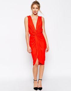 Image 1 ofASOS Plunge Soft Twist Pencil Dress
