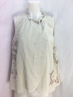 """Women's Floreat Tan Sleeveless Wrap Gauze Top with Rose and Gold Metallic Embroidery. Key hole Front. Size: 12. Length: 24"""". 100% Cotton. """"I am a trading assistant. 