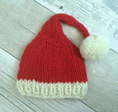 Santa Hat for Baby, Baby Santa Outfit, Infant Santa Hat, Knitted Santa Hat, Baby Pixie Hat, Infant Elf Hat, Christmas Stocking Cap