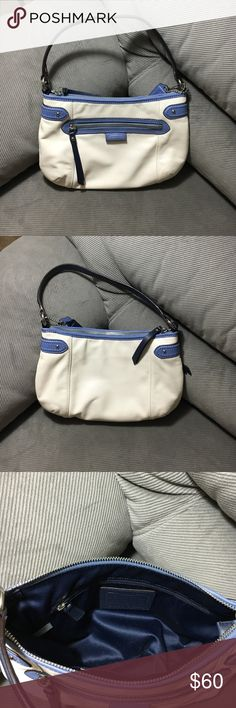 Coach Shoulder Bag Blue and white authentic coach bag. Please refer to pictures. Item is used but still in good condition! Coach Bags