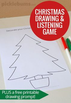 Kids love this Christmas drawing and listening game! Includes a free printable Christmas tree drawing prompt.