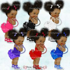 Ruffle Pants Natural Hair Pony Tails Afro Puffs | African American Skin Tone | 6 Outfit Colors | Clipart Instant Download