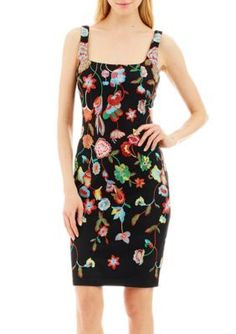 Nicole Miller New York Women's Embroidered Scoop Neck Sheath Dress - Black/Multi - 10