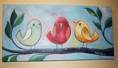 Whimsical Birds Painting on Canvas with three birds by HeartHomes