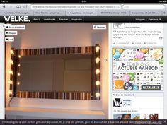 Zelfgemaakte spiegel met houtplaat spiegel en lampjes ikea