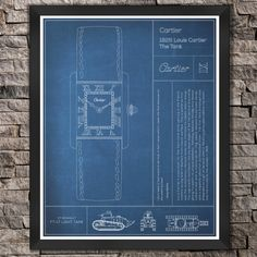 Cartier: The Tank Watch. Blue Print by FetchDesignCo on Etsy