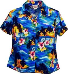Ladies Hawaiian Shirt Blue Waikiki Sunset Pacific Legend Ladies Hawaiian Shirt. $39.95