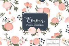 Navy & Pink Floral Clipart & Vectors by Amanda Ilkov on @creativemarket
