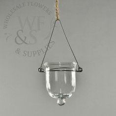 Clear Glass Hanging Votive Holder - Short and Wide