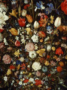 Jan Brueghel the Elder. Flowers in a Wooden Vessel, 1607.