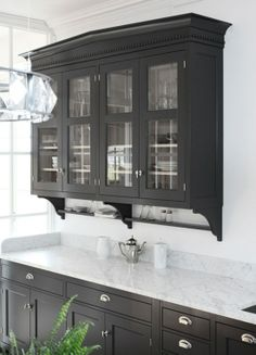Dark Grey Kitchen Cabinets ~ Love them along with the glass doors!.
