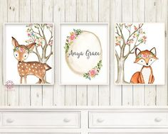 https://www.pinkforestcafe.com/collections/baby-nursery-kids-room-wall-art-prints-printable-boho-woodland-decor/products/3-boho-deer-fox-baby-name-wall-art-print-woodland-nursery-baby-girl-room-set-lot-watercolor-personalized-birth-stats-prints-decor-1