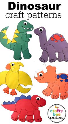 Great craft patterns for a dinosaur unit. Easy to make, just download, copy onto construction paper, cut,and glue! Kids will love these!