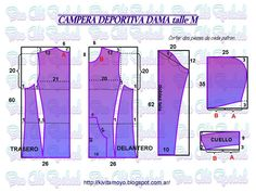 KiVita MoYo: CAMPERA DEPORTIVA DAMA talleM  Deja un comentar... Easy Sewing Patterns, Vintage Patterns, Blouse Patterns, Clothing Patterns, Camisa Floral, Coats For Women, Clothes For Women, T Shorts, Donia