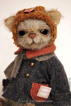 Купить кот Мюррей 23,5см - комбинированный, серый, кот, котик, в шапке, Авторский дизайн
