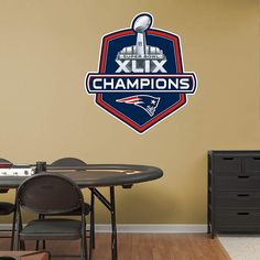 Celebrate with a New England Patriots Super Bowl XLIX Champions Logo Fathead Wall Decal!