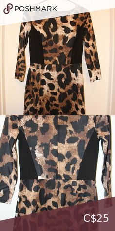 Sleeve leopard print bodycon mini dres Hey all you cool cats and kittens! Comfy sleeve bodycon dress with leopard print pattern and black paneling at sides. Zipper in back. Worn once. Bodycon Dress With Sleeves, Kittens, Cats, Plus Fashion, Fashion Tips, Fashion Trends, Comfy, Zipper, Mini