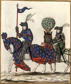Louis II, duc de Bourbon (Gaignières 455) -- Dessin d'une miniature, Fonds Gaignières [BNF Est. Réserve Oa-13-Fol., Fol. 27. Bouchot, 455] -- «Louis 2e du nom, duc de Bourbon, Comte de Clermont, armé en guerre, suivy de son Escuyer. Mort en 1410»