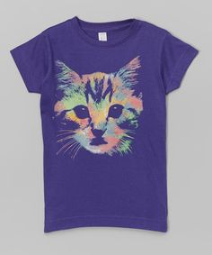 Another great find on #zulily! Purple Kitty Face Fitted Tee - Infant, Toddler & Girls #zulilyfinds