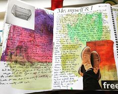 #marchmeetthemaker - day 4 - #favoutite - a daily practice is visual journalling another favourite of mine. I love this practice of mixing paints text images quotes collage - hell whatever I feel like - on the page. It frees me up and pulls me in deep. Its been my life saver. #artistsoninstagram #sharingmyjoy #sharingmystory #practice #process #visualjournal