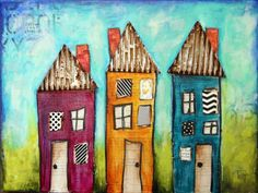 Donna D houses- mixed Media
