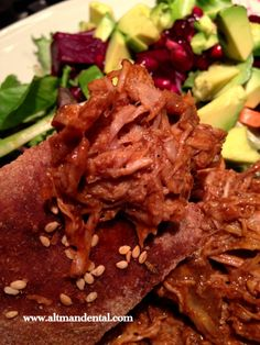 Pulled pork on gluten free foccacia and salad: high in protein, this meal is great for healing and full of flavor.  We highly suggest using organic pork.  #glutenfree #pulled pork #toothfood www.toothfood.com