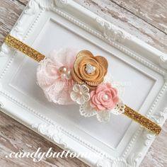 Pink And Gold Baby Headband Blush Gold Headband by candybuttonusa
