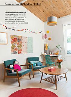 Home of Adeline Klam- Maison créative magazine. Love the Japanse papers...