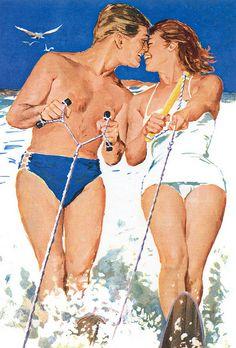 Bowler romance on the waves Vintage Romance, Vintage Love, Vintage Ads, Beach Romance, Summer Romance, Vintage Couples, Couple Illustration, Vintage Swimsuits, Oui Oui