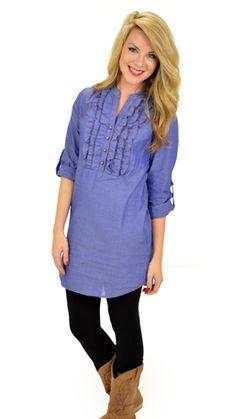 Ruffle Denim Dress :: NEW ARRIVALS :: The Blue Door Boutique