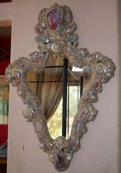 French Venetian Rococo Pearl Shell Encrusted Mirror