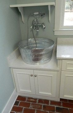 Gorgeous Laundry Sinks convention Other Metro Farmhouse Laundry Room Innovative Designs with custom laundry sink metal tub sink Rustic Laundry Rooms, Laundry Room Sink, Laundry Room Remodel, Laundry Room Organization, Laundry Room Design, Ikea Laundry, Laundry Tubs, Metal Tub, Small Basements
