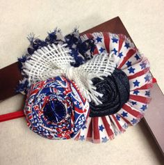 Red white and blue 4th of July Star Chiffon Flower, Rolled Fabric Rosette, Burlap Bow and Fabric Ruffle Headband or Hair Clip on Etsy, $15.50