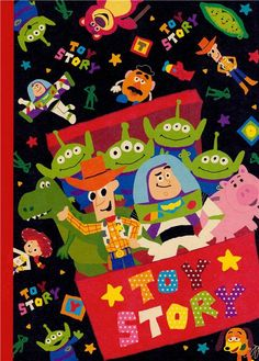 cute notebook with Pixar's Woody, Buzz Lightyear, Rex, Aliens etc. in toy box Cumple Toy Story, Festa Toy Story, Toy Story Party, Wallpaper Iphone Disney, Cute Disney Wallpaper, Cartoon Wallpaper, Disney Pixar Cars, Disney Toys, Disney Cartoons
